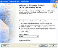 Passcape Outlook Password Recovery screenshot medium
