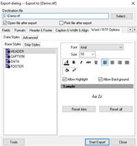 Advanced Data Export VCL