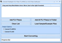 Convert Multiple FLV Files To MPEG or AVI Files Software screenshot medium