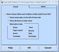 Excel 2007 Ribbon to Old Classic Menu Toolbar Interface Software