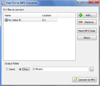 Free FLV to MP3 Converter screenshot medium