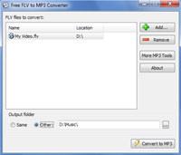 Free FLV to MP3 Converter screenshot medium
