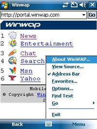 WinWAP for Windows Mobile Professional screenshot medium