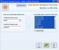 Convert MySQL to MS SQL Database screenshot medium