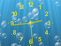 Underwater Clock Bubbles Screensaver