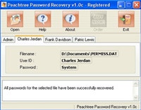 PeachTree Accounting Password Recovery