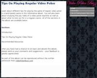 Tips On Playing Regular Video Poker