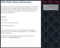 Video Poker History And Formats
