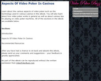 Aspects Of Video Poker In Casinos