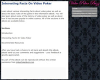 Interesting Facts On Video Poker