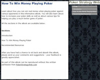How To Win Money Playing Poker