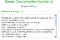 Strong Concentration Skills Subliminal Program