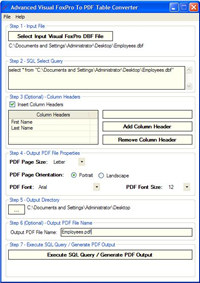 Advanced FoxPro To PDF Table Converter