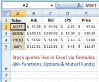 MarketXLS - Stock Quotes in Excel