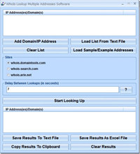WhoIs Lookup Multiple Addresses Software