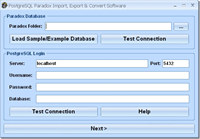 PostgreSQL Paradox Import, Export & Convert Software