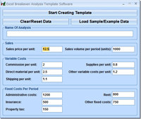 Excel Breakeven Analysis Template Software