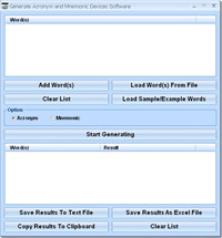 Generate Acronym and Mnemonic Device Software