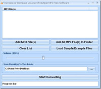 Increase or Decrease Volume Of Multiple MP3 Files Software screenshot medium