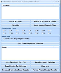 Extract Phone Numbers From Multiple VCF Files Software