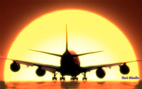 Airplane Sunset Landing ScreenSaver