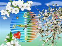 Apple Blossom Clock Live Wallpaper